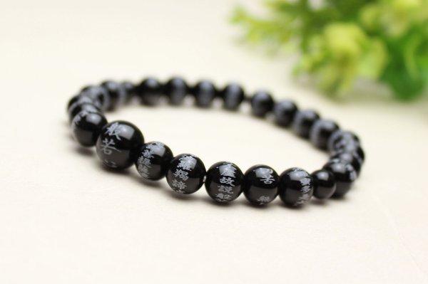 画像4: 大感謝セール51%OFF【般若心経彫】ブラックオニキス 8ミリタイプ  数珠ブレスレット