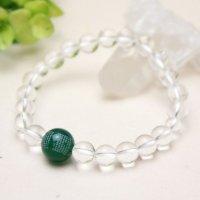 般若心経 親珠 1珠 彫 12ミリ緑瑪瑙 8ミリ 水晶 数珠 ブレスレット