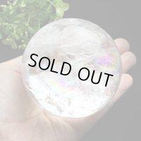 レインボー入◆水晶 丸玉 約77ミリ 置石 メール便不可