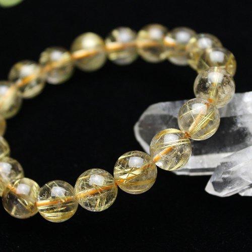 他の写真1: 上質 ルチルクォーツ 10ミリ (金線入水晶) ブレスレット