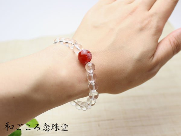 画像4: 般若心経 親珠 1珠 彫 12ミリ 瑪瑙 8ミリ 水晶 数珠ブレスレット