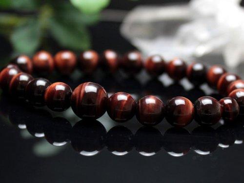 他の写真2: 8ミリ 赤虎目石 数珠ブレスレット(念珠タイプ)