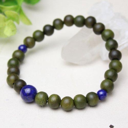 他の写真1: 8ミリ 生命樹 (緑檀) ラピスラズリ仕立 数珠ブレスレット