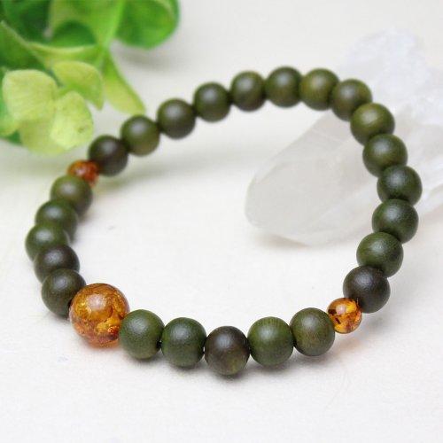 他の写真1: 8ミリ 生命樹 (緑檀) 琥珀仕立 数珠ブレスレット