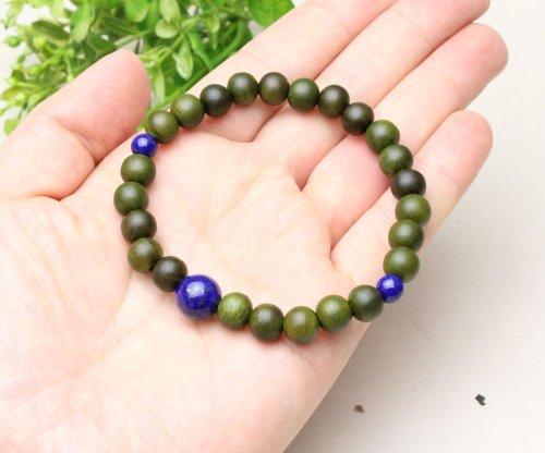 他の写真3: 8ミリ 生命樹 (緑檀) ラピスラズリ仕立 数珠ブレスレット