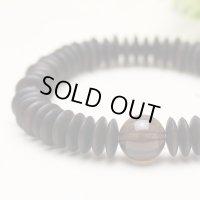 大感謝セール11%OFF【54玉ブレス】縞黒檀 茶水晶 数珠ブレスレット
