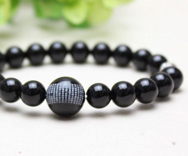 画像3: 大感謝セール【1玉 般若心経彫り】 ブラックオニキス 数珠 ブレスレット