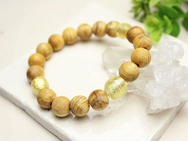 画像2: 10ミリ パロサント(聖なる香木) 金箔トンボ玉仕立 数珠ブレスレット