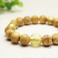 10ミリ パロサント(聖なる香木) 金箔トンボ玉仕立 数珠ブレスレット