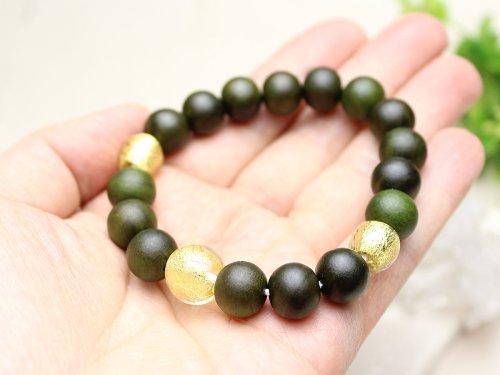 他の写真2: 10ミリ 生命樹 (緑檀) 金箔トンボ玉仕立 数珠ブレスレット