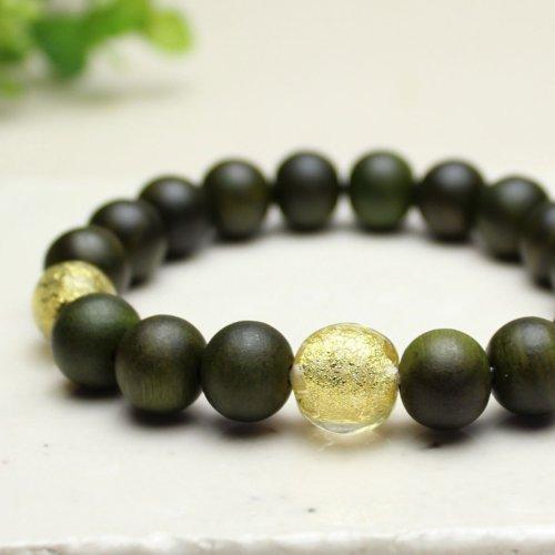他の写真1: 10ミリ 生命樹 (緑檀) 金箔トンボ玉仕立 数珠ブレスレット