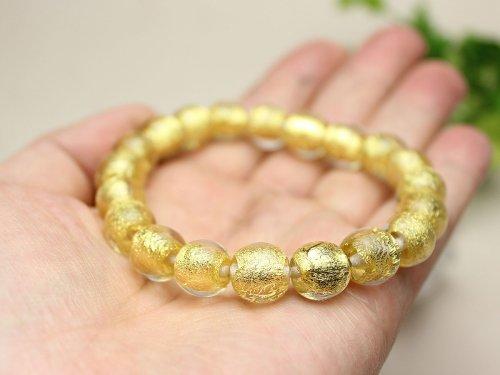 他の写真2: 10ミリ 金沢産本金箔トンボ玉 数珠 ブレスレット