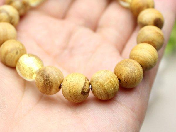 画像3: 10ミリ パロサント(聖なる香木) 金箔トンボ玉仕立 数珠ブレスレット