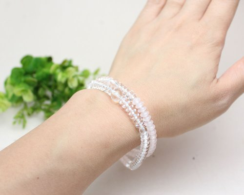 他の写真3: 【108玉ブレス】 水晶 ローズクォーツ 数珠 ブレスレット