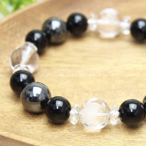 他の写真1: 【開運四神】男らしい大玉!オニキス×ヘマタイト パワーストーンブレスレット 数珠