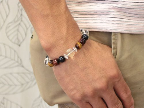 他の写真3: 【開運四神ブレス】金運・仕事運アップ♪10ミリ 3色タイガーアイ 虎目石 パワーストーン 数珠 ブレスレット