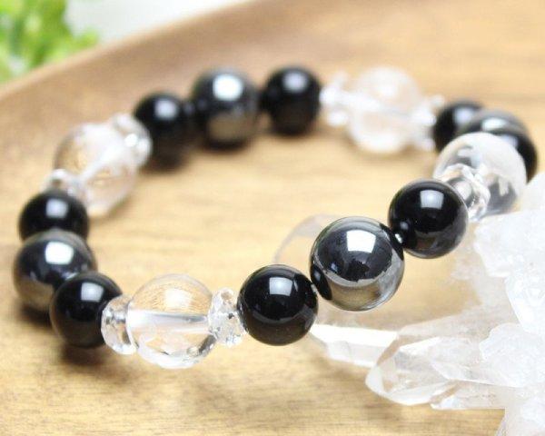 画像2: 【開運四神】男らしい大玉!オニキス×ヘマタイト パワーストーンブレスレット 数珠