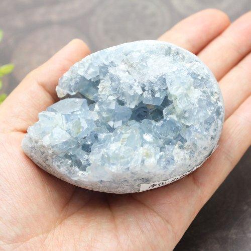 他の写真1: セレスタイト クラスター エッグ型 400g 天然石 原石 置石