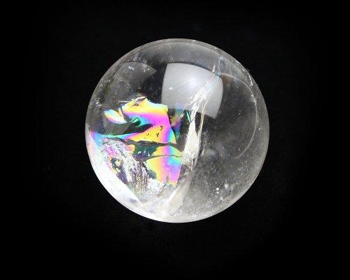 他の写真2: レインボー入◆水晶 丸玉 約59ミリ 置石 メール便不可