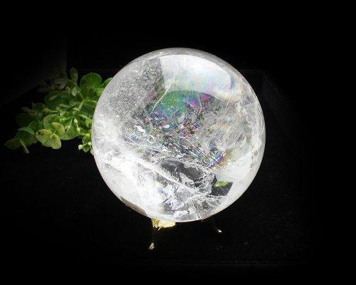 他の写真2: レインボー入◆水晶 丸玉 約77ミリ 置石 メール便不可