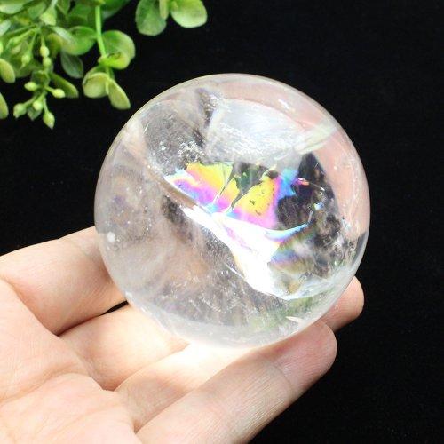 他の写真1: レインボー入◆水晶 丸玉 約59ミリ 置石 メール便不可