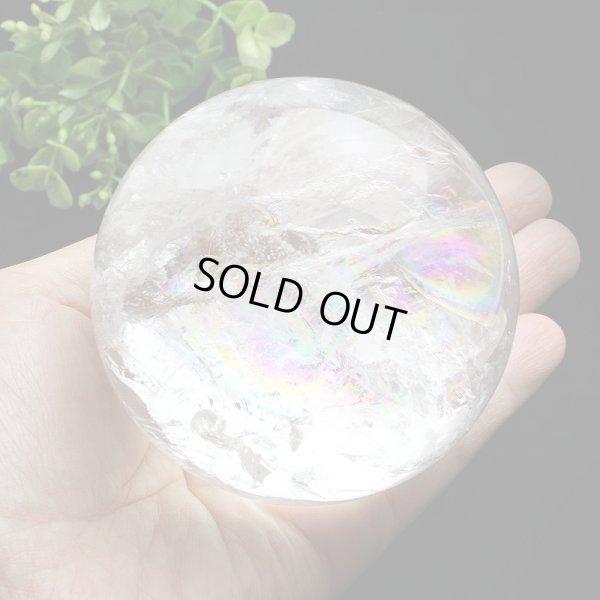 画像1: レインボー入◆水晶 丸玉 約77ミリ 置石 メール便不可