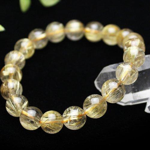 他の写真1: 【上質】 9.5ミリ ルチルクォーツ (金線入水晶) ブレスレット