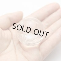 レインボー入 ◆ 水晶 丸玉 約37ミリ 置石 メール便不可