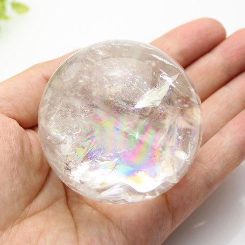 他の写真1: 【セール20%OFF】レインボー入 ◆ 水晶 丸玉 約58ミリ 置石 メール便不可