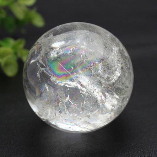 他の写真2: 【セール20%OFF】レインボー入 ◆ 水晶 丸玉 約58ミリ 置石 メール便不可