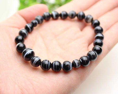 他の写真2: 大感謝セール★ 8ミリ 黒縞瑪瑙 数珠ブレスレット(念珠タイプ)