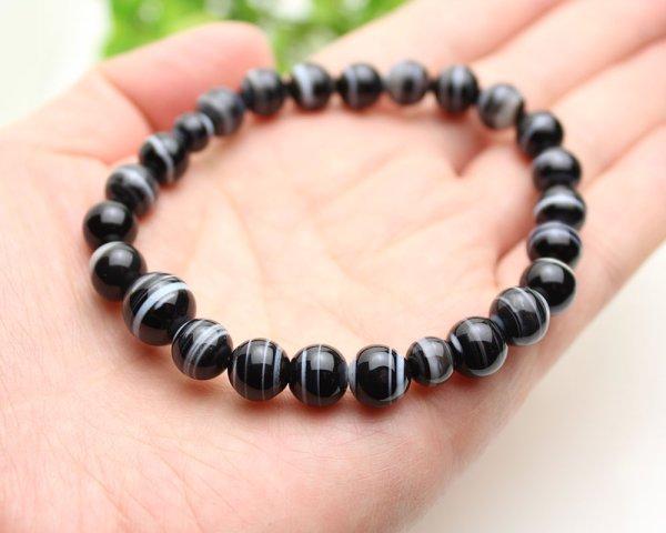 画像3: 大感謝セール★ 8ミリ 黒縞瑪瑙 数珠ブレスレット(念珠タイプ)