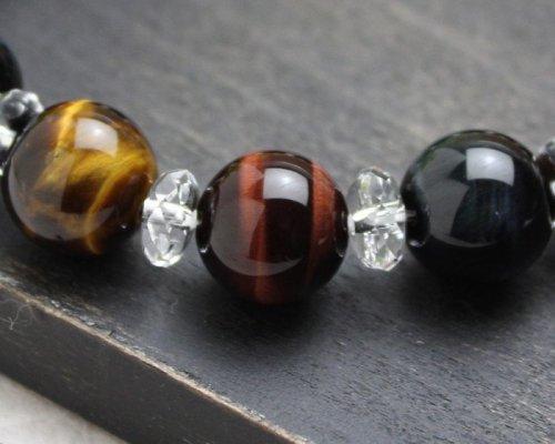 他の写真2: 極艶♪12ミリ高級青・赤・虎目石×水晶 パワーストーン ブレスレット 数珠