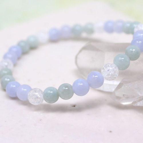 他の写真2: 【癒しの石】 6ミリ ビルマ翡翠 ブルーレース 水晶  ブレスレット