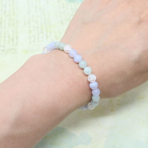 他の写真3: 【癒しの石】 6ミリ ビルマ翡翠 ブルーレース 水晶  ブレスレット