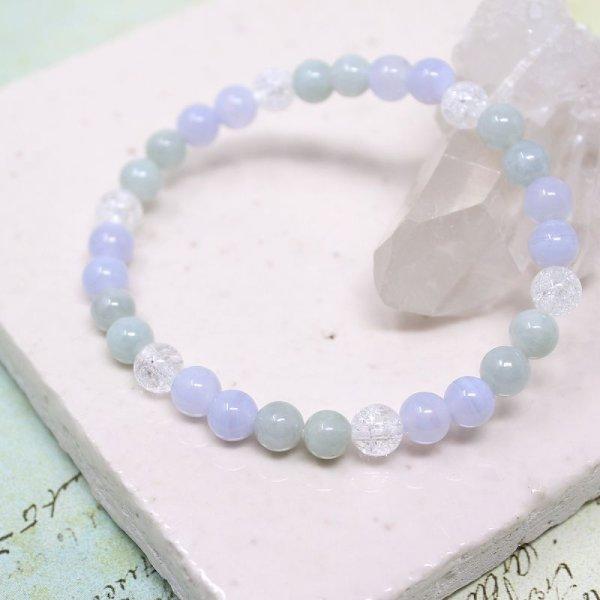 画像1: 【癒しの石】 6ミリ ビルマ翡翠 ブルーレース 水晶  ブレスレット