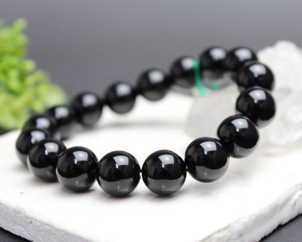 画像2: モリオン (黒水晶) 12ミリ ブレスレット ◆宝石鑑別書付き◆
