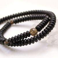 内周16.5cm【108玉ブレス】縞黒檀 茶水晶 (しまこくたん ちゃすいしょう)数珠ブレスレット