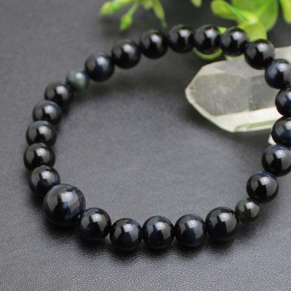 画像1: 8ミリ 青虎目石 数珠ブレスレット(念珠タイプ)