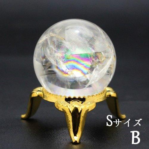 他の写真1: レインボー入 ◆ 水晶  Sサイズ【B】丸玉 約28ミリ 置石 スフィア メール便不可
