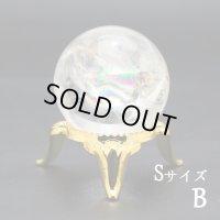 レインボー入 ◆ 水晶  Sサイズ【B】丸玉 約28ミリ 置石 スフィア メール便不可